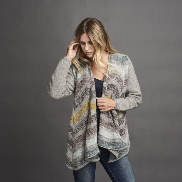 Dione knitted cardigan with drapes at the front, grey with stripes in dusty, blue, yellow and purple colors, made in Isager Alpaca and Spinni wool, the front