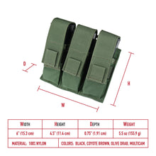 Load image into Gallery viewer, Modular (MOLLE) Universal TRIPLE Pistol Magazine Pouch
