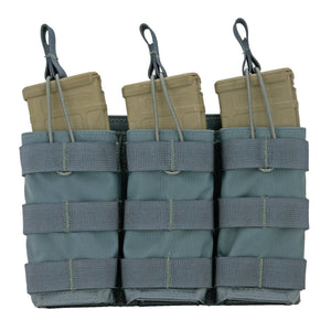 Modular (MOLLE) Rifle Magazine Pouch, TRIPLE, Open Top (Shingle), (AR - M4 - AK47 - G36 - M14 - SMG)