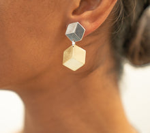3D Sterling Silver Small Cube Necklace and Two Tone Earrings