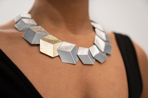 3D Oxidized Sterling Silver Necklace and Gold Plated Cube Earrings
