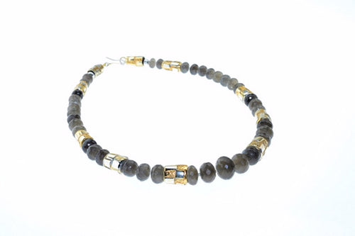Labradorite necklace with hand made, one of a kind sterling silver and gold plated beads