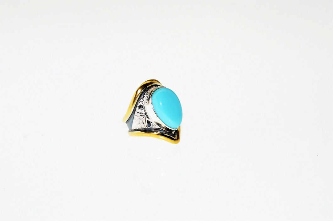 Turquoise Ring, set in sterling silver and  gold plated,hand made, one of a kind.