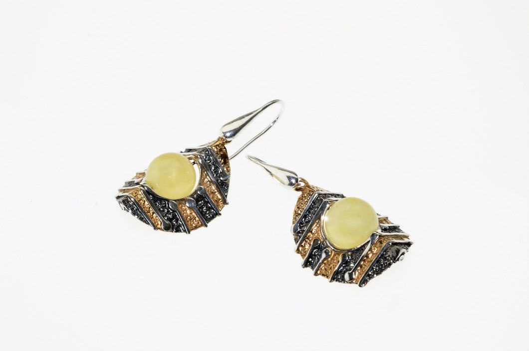 Baltic amber set in oxidized  sterling silver and gold plated earrings, one of a kind
