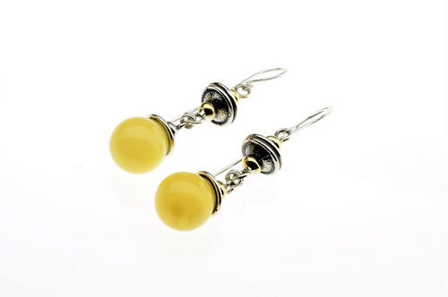Baltic amber set in sterling silver  and gold plated earrings, one of a kind
