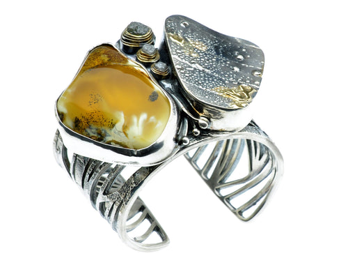 Baltic Sea Amber and 3 Rough Diamonds Set in Sterling Silver Bracelet, One of a Kind