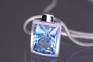 Blue topaz necklace, streling silver