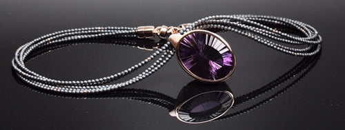 Very unique cut amethyst necklace set in rose gold plated, sterling silver and hematite beads
