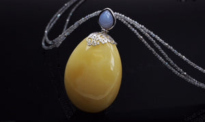 Unique Baltic See Amber Necklace, labradotite beads, decorated with chalcedony, set in sterling silver and gold plated