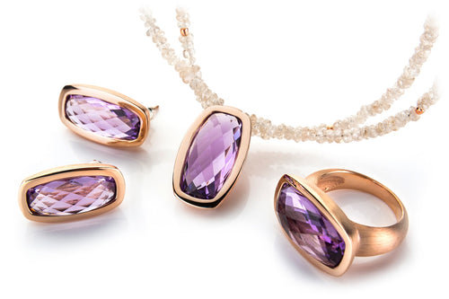 Sterling Silver Rose Gold Plated Amethyst Set
