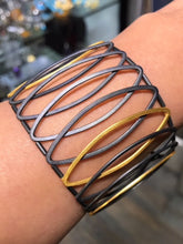 Two-tone oxidized and gold plated sterling silver bracelet