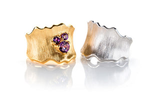Sterling Silver Gold Plated with Amethyst Ring and Silver Band