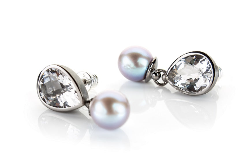 Clear Crystal and Black Pearl Earrings Set in Sterling Silver