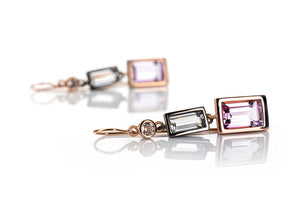 Sterling Silver Gold Plated Clear Crystal with Amethyst  Earrings
