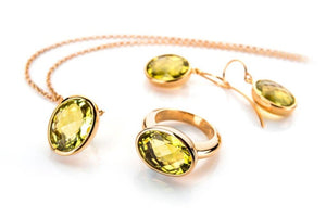 Necklace, earrings and ring citrine set in sterling silver and gold plated