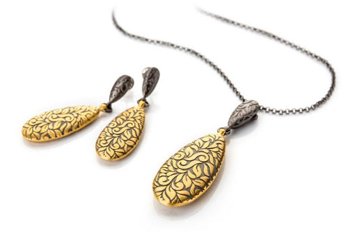 Earrings and necklace set in streling silver and gold plated