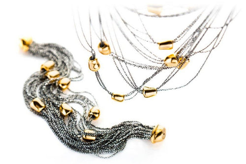 Necklace and bracelet diamented cut  oxidized sterling silver with gold plated beads