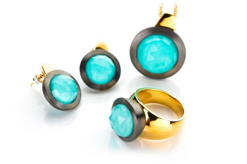Ring, earrings and necklace -  turquise round faseted in clear crystal set in gold plated and oxidized sterling silver