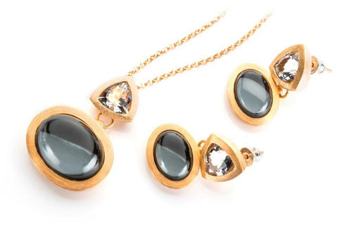 Hematite and clear crystal necklace and earrings, set in sterling silver and gold plated