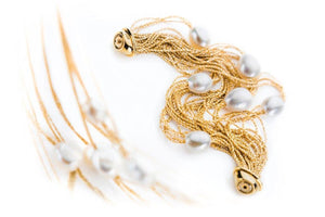 Necklace and bracelet daimonted cut chain sterling silver and gold plated with white pearls