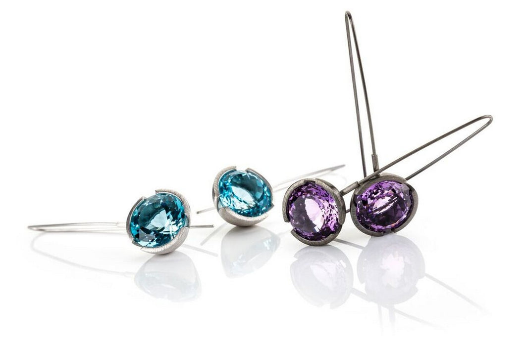 Earrings turquoise and amethyst set in sterling silver