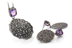 Necklace and earrings, amethyst set in sterling silver