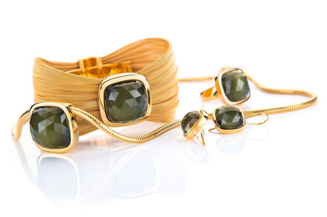Set - earrings, ring, necklace, bracelet; lemon quartz and hematite, sterling silver gold plated