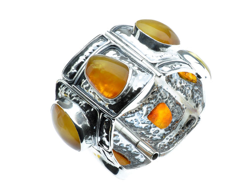 Baltic Sea Amber and 6 Stone Set in Sterling Silver Bangle Bracelet