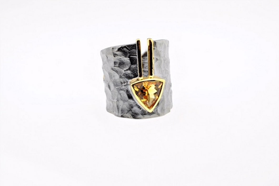 Citrine set in hand made, sterling silver oxidized ring, gold plated details