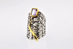 Amethyst set in hand made, sterling silver oxidized ring, gold plated details