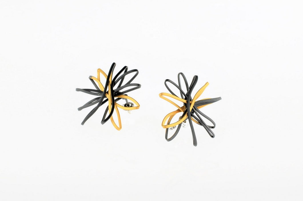 Two-tone oxidized and gold plated sterling silver earrings