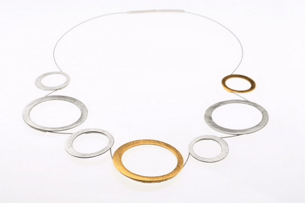 Two-tone necklace set in  gold plated sterling silver