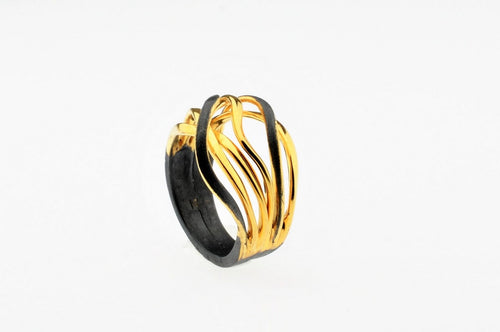 Two-tone oxidized and gold plated sterling silver ring