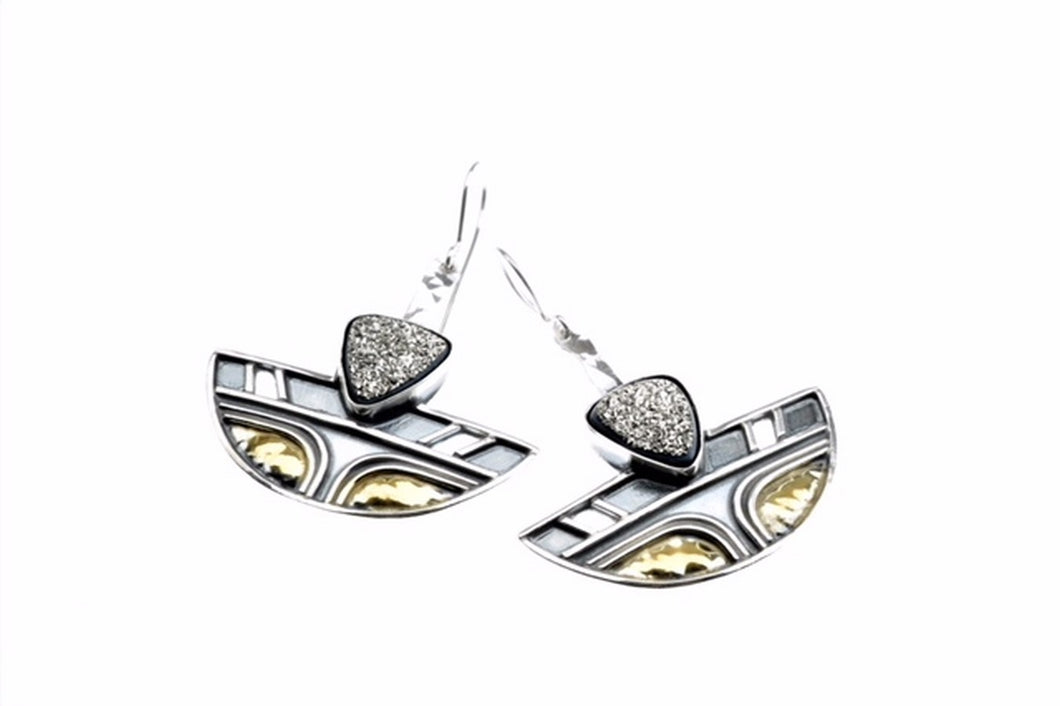 Platinium plated brazlian druzy earrings set in sterling silver and gold plated, one of a kind
