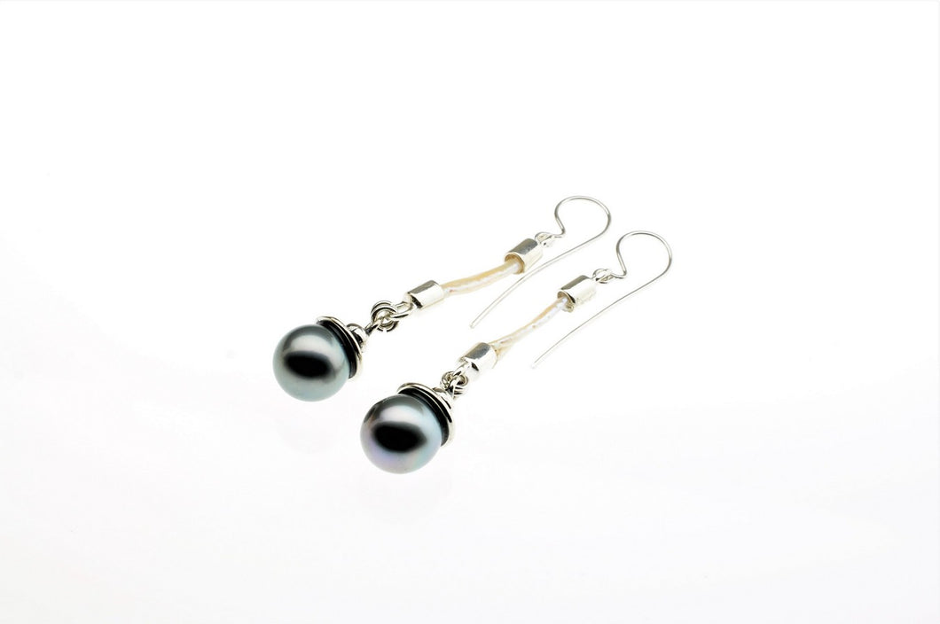 Black tahitian earrings hanging on the white pearl, sterling silver, one of a kind