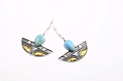 Larimar Earrings, set in sterling silver and  gold plated,hand made, one of a kind.