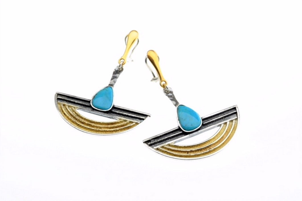 Turquoise Earrings, set in sterling silver and  gold plated,hand made, one of a kind.