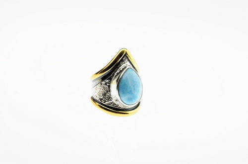 Larimar ring, set in sterling silver and  gold plated,hand made, one of a kind.