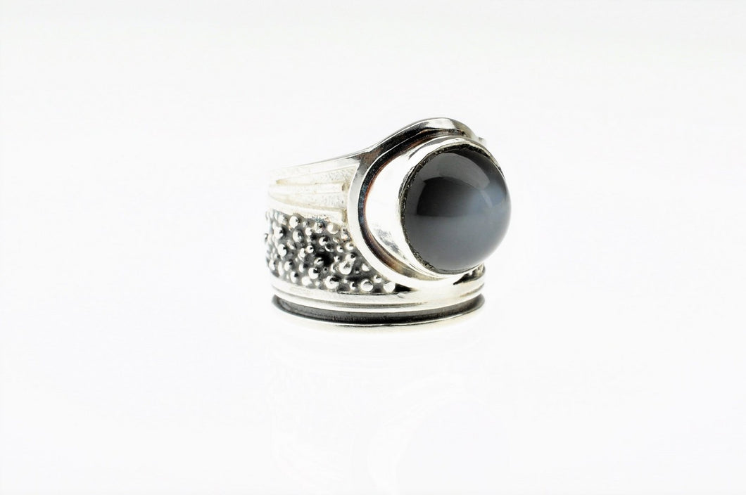 Grey moon stone ring, set in sterling silver, one of a kind