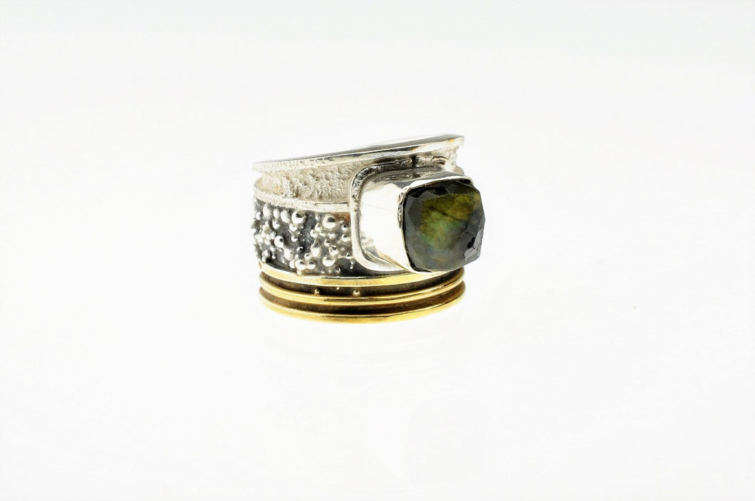 Labradorite ring, sterling silver and gold plated