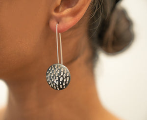Sterling Silver and Oxidized Disk Earrings