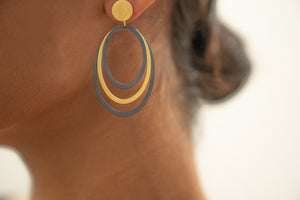 Sterling Silver Oxidized and Gold Plated Oval Hoop Earrings