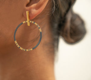 Sterling Silver Oxidized and Gold Plated Hoop Earrings
