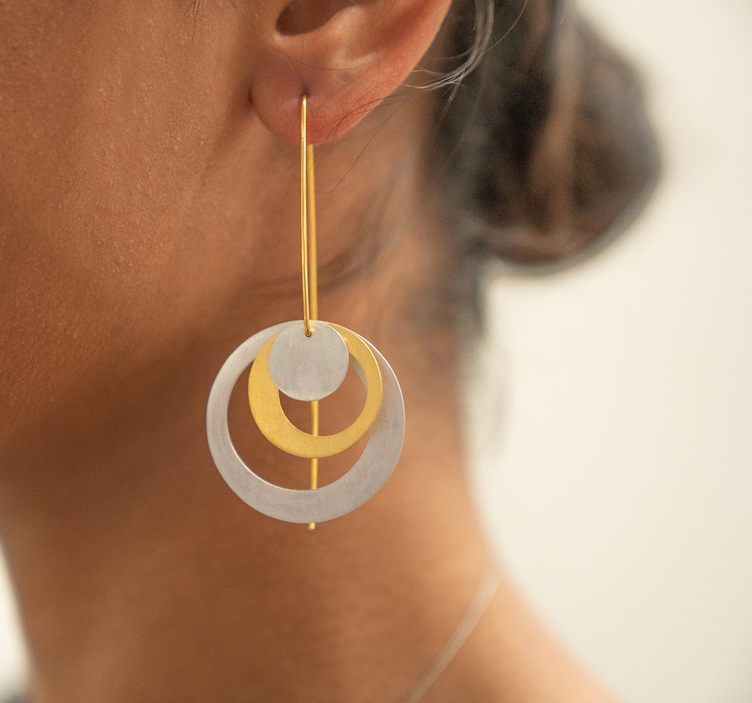 Sterling Silver and Gold Plated Circle Earrings