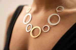 Gold Plated and Silver Circle Necklace