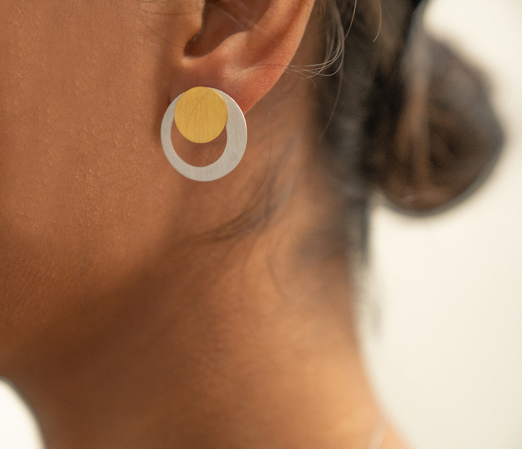 Sterling Silver and Gold Plated Small Circle Stud Earrings