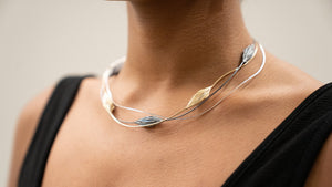 Sterling Silver Oxidized and Gold Plated Wired Necklace