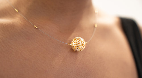 Sterling Silver and Gold Plated Bowl Chocker Necklace