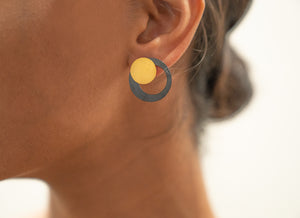 Sterling Silver Oxidized and Gold Plated Circle Shaped Set