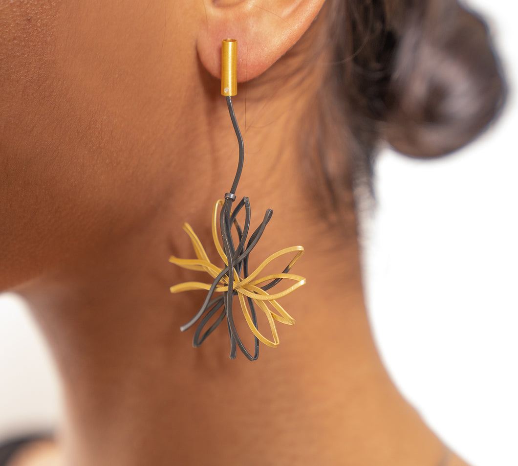 Sterling Silver Oxidized and Gold Plated Flower Dangling Earrings